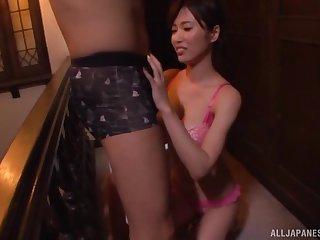 Lord it over Japanese MILF Kimijima Mio sucks cock on her knees