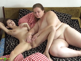 OldNanny Superannuated and young woman shellacking and toying