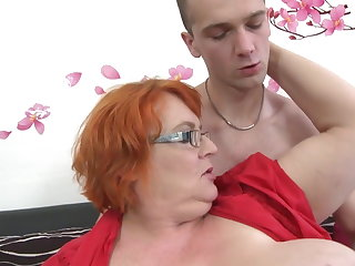 Granny SSBBW fucked apart from young boy