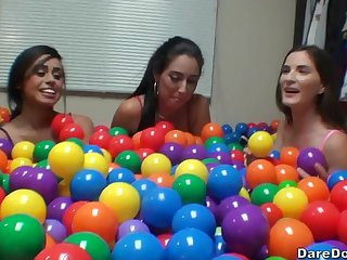 Molly Jane and Rachel Salmon-coloured obtain a surprise from a hidden hard cock