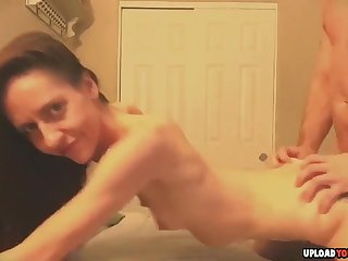 Brunette pulling wife getting doggystyle dicked until he swing in her