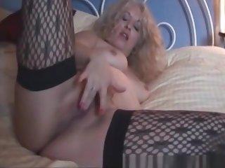 Check My MILF Trashy wife round stockings rubbing fat pussy