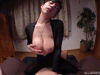 Slender gorgeous Japanese babe Mizukawa Kazuha sucks dick with glasses