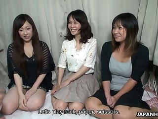Lovely Japanese girls serve two insatiable dudes and show their creampied pussies