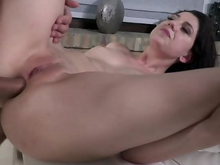 Brunette female gets her ass gaped aggrandizement to amazing pounding