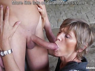 Horny old cougar tapes up their way young toyboy and sucks him off