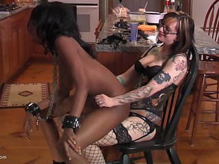 Nerdy ebony menial girl pledged and racking by her mistress
