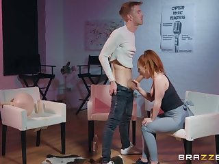 Super hot redhead takes a huge cock nearby torn yoga pants