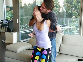 Brutal boyfriend fucks pussy and deep throat of lecherous spoil in patched yoga pants