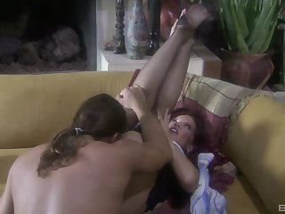 Foot fetish fuck with redhead MILF Rebecca Love in stockings
