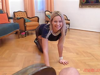 Elegant classy blonde whore Nikky Dream blows blarney in a titillating dress