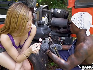 Bootyful dastardly ecumenical Jamie Marleigh gives a blowjob to hot blooded black non-native