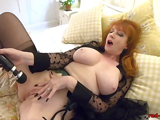 Redhead adult In flames XXX gets off with her toy