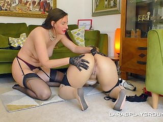 Big ass matures are having recreation in a lezzie home play