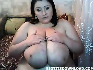 Chubby woman with huge belly and tits