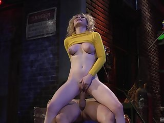 Young blonde rides the famous dick in insane manners