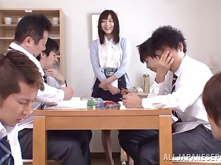 Rough gangbang in an obstacle office is for everyone close by Yuu Asakura talking