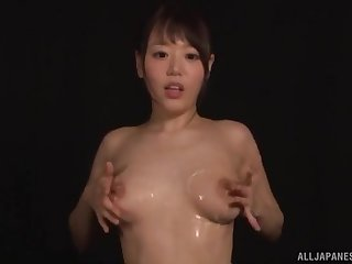 Shy Asian girl Hamasaki Mao plays with her almighty tits