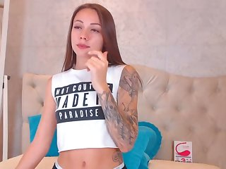 Petite Brunette Reaches Down Between Her Pussy Lips