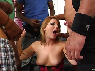 A rough interracial gangbang is what this MILF asked for