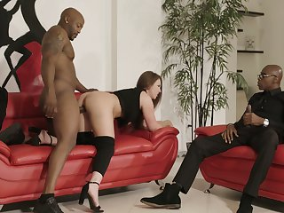 Two huge coal-black dicks penetrate anus and pussy be advisable for bootyful white chick Maddy O'reilly
