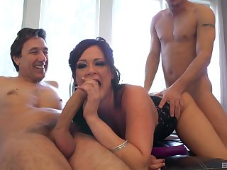 MILF deals three big cocks in a of the first water threesome