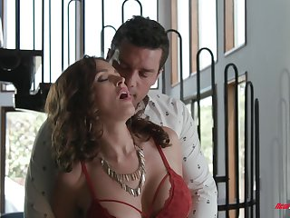 Sultry MILF with huge boobies Krissy Lynn feels nice as she rides dick