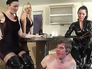 Femdom Mistresses Dominate Age-old Cadger