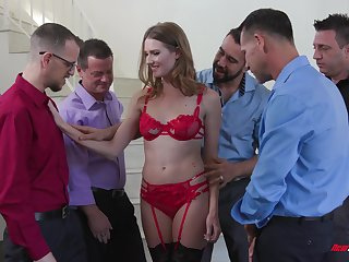 Slender bitch in peppery lingerie Ashley Trip serves a group of sweltering guys