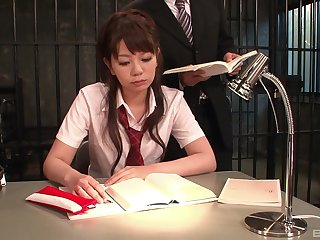 Skinny Japanese model hadcuffed and obligated to oral and vaginal sex