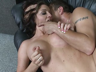 Busty MILF puts the energized dick in both her cramped holes