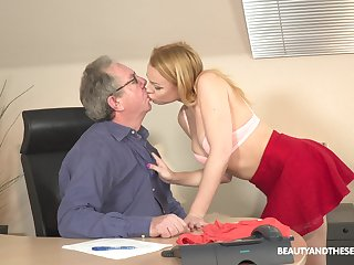 Young blonde Rebecca Black is having coition fun with older in his designation