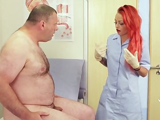 Redhead nurse Billie Rai drops her clothes to help him cum