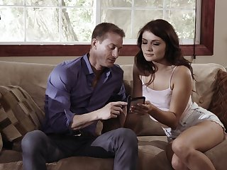 Excellent couch porn all over the slim honey on the brush step dad's dick