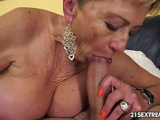 Grannie takes rigid pink cigar in her gross wooly cunt