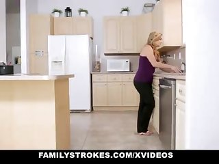 FamilyStrokes - Tender Step-Sister And Mother Tricked And Romped By StepBro